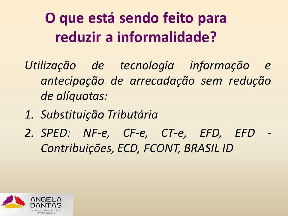 O que está sendo feito para reduzir a informalidade? Utilização de tecnologia informação e antecipação de arrecadação sem redução de alíquotas: 1.Subs