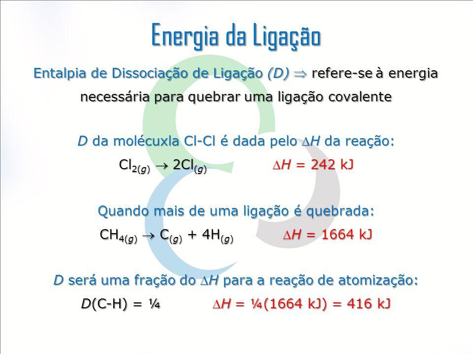 Energia da Ligação Entalpia de Dissociação de Ligação (D)  refere-se à energia necessária para quebrar uma ligação covalente D da molécuxla Cl-Cl é d