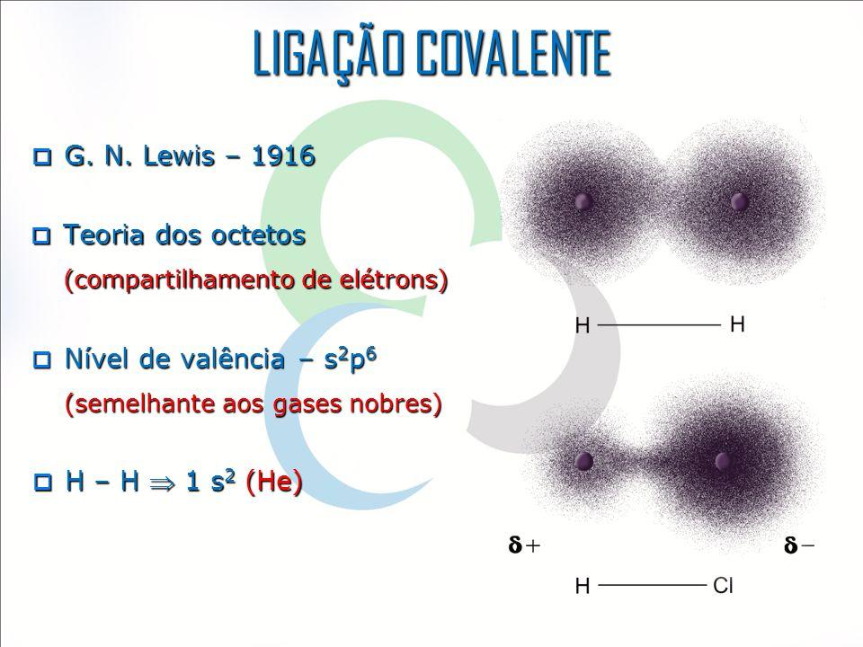  G. N. Lewis – 1916  Teoria dos octetos (compartilhamento de elétrons)  Nível de valência – s 2 p 6 (semelhante aos gases nobres)  H – H  1 s 2 (