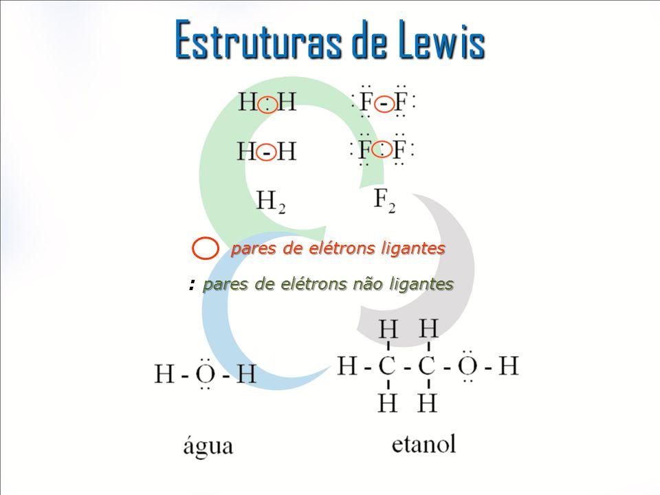 Estruturas de Lewis pares de elétrons ligantes pares de elétrons não ligantes :