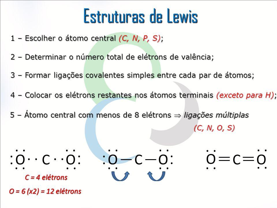 Estruturas de Lewis 1 – Escolher o átomo central (C, N, P, S); 2 – Determinar o número total de elétrons de valência; 3 – Formar ligações covalentes s