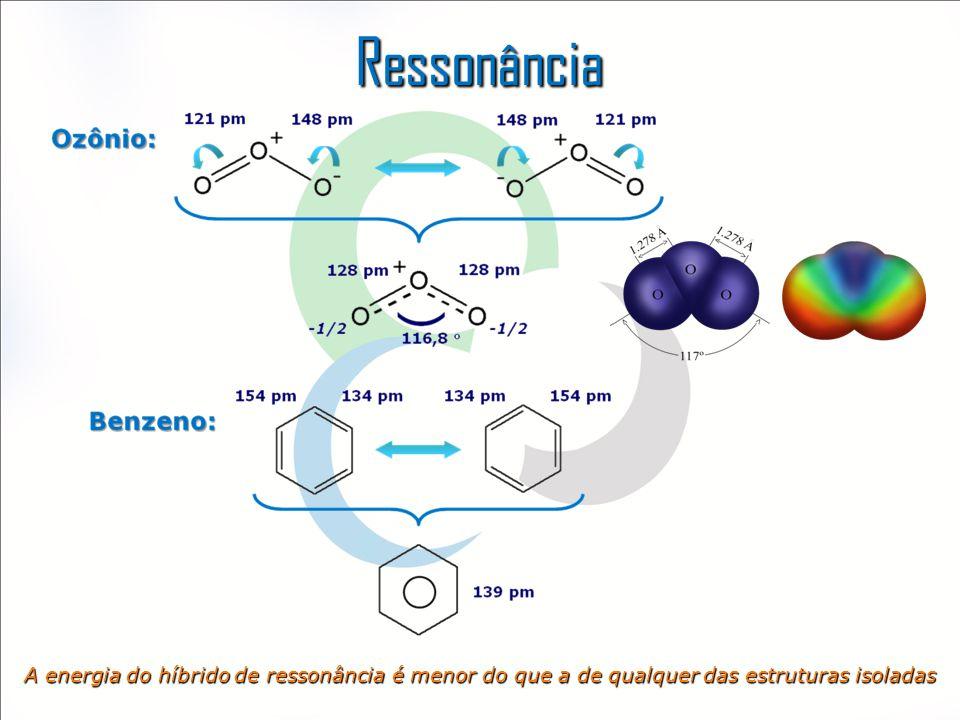 Ressonância A energia do híbrido de ressonância é menor do que a de qualquer das estruturas isoladas
