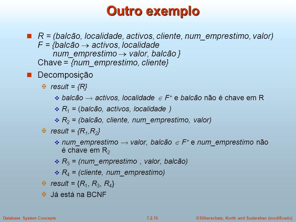 ©Silberschatz, Korth and Sudarshan (modificado)7.2.16Database System Concepts Outro exemplo  R = (balcão, localidade, activos, cliente, num_emprestim