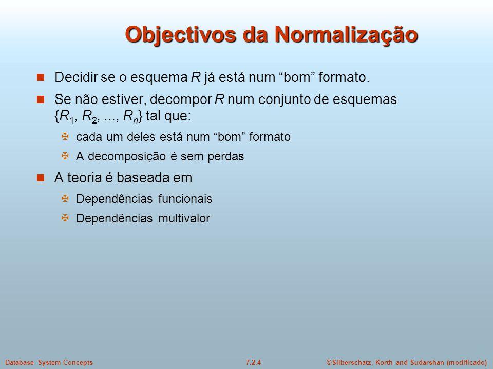 """©Silberschatz, Korth and Sudarshan (modificado)7.2.4Database System Concepts Objectivos da Normalização  Decidir se o esquema R já está num """"bom"""" for"""