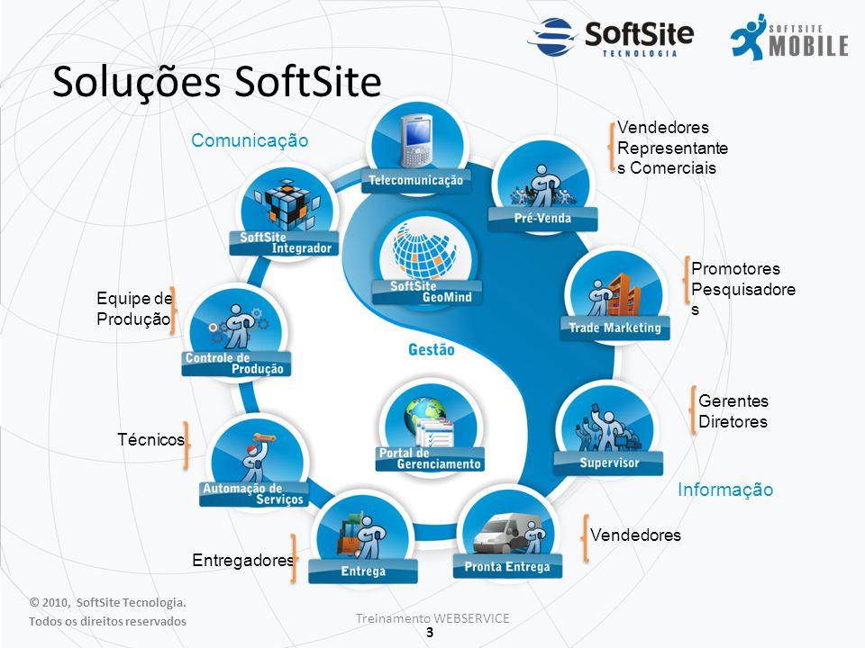 4 APRESENTAÇÃO WEBSERVICE Estrutura desenvolvida na plataforma Java e de competência da Softsite.