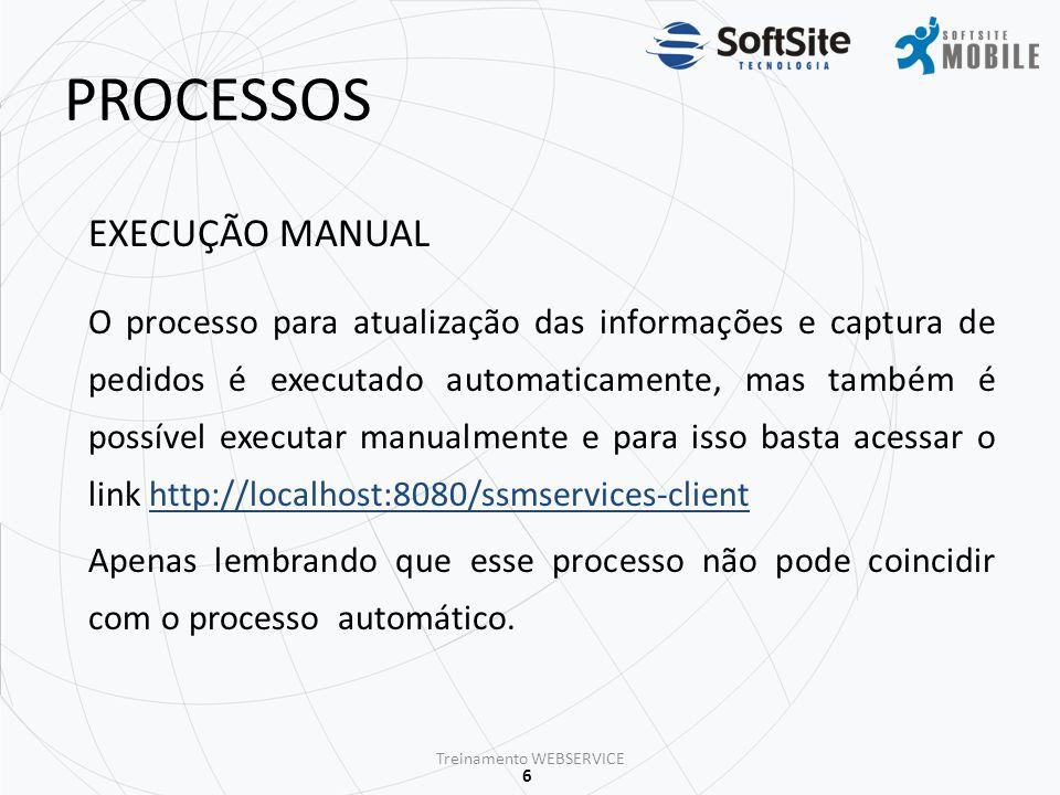 7 ESTRUTURA Datacenter Softsite Sincronismo 1 Treinamento WEBSERVICE Máquina(cliente) disponibilizada para Webservice ERP -Arquivos TXT's/Views -Pedidos Exportação/Importação