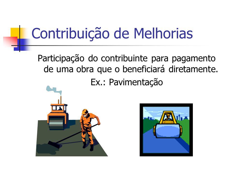 Contribuição de Melhorias Participação do contribuinte para pagamento de uma obra que o beneficiará diretamente. Ex.: Pavimentação