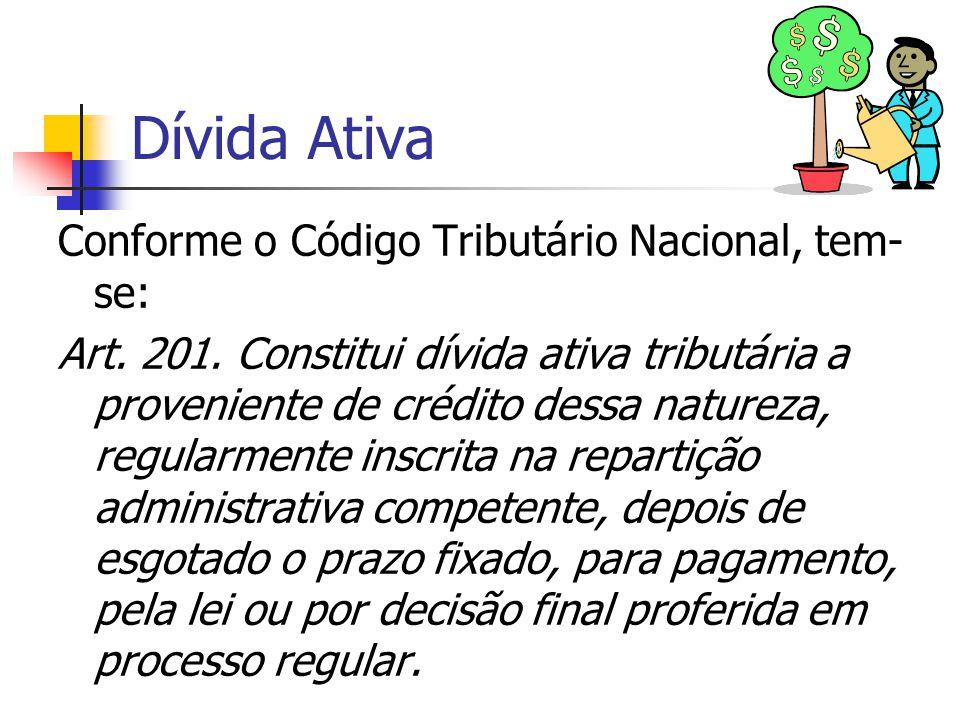 Dívida Ativa Conforme o Código Tributário Nacional, tem- se: Art. 201. Constitui dívida ativa tributária a proveniente de crédito dessa natureza, regu