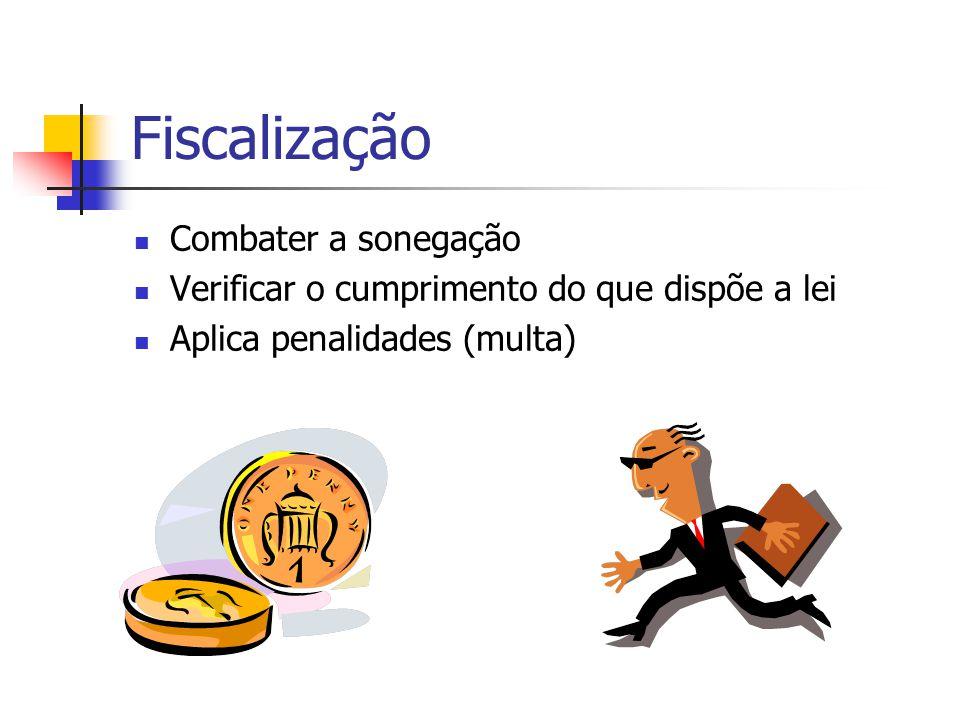 Fiscalização  Combater a sonegação  Verificar o cumprimento do que dispõe a lei  Aplica penalidades (multa)