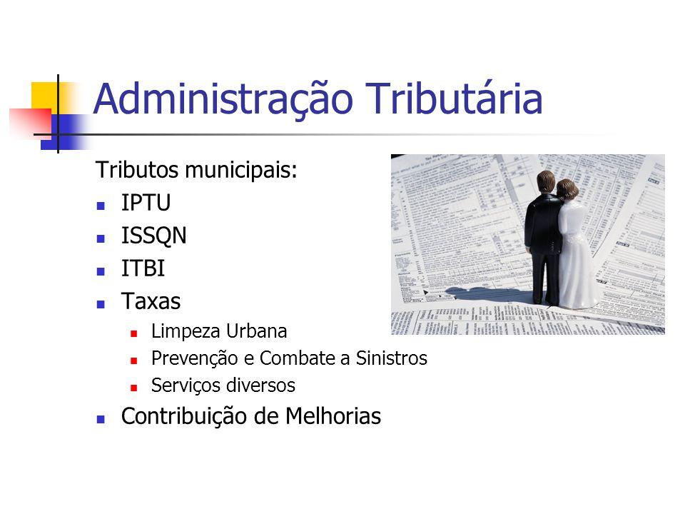 Administração Tributária Tributos municipais:  IPTU  ISSQN  ITBI  Taxas  Limpeza Urbana  Prevenção e Combate a Sinistros  Serviços diversos  C