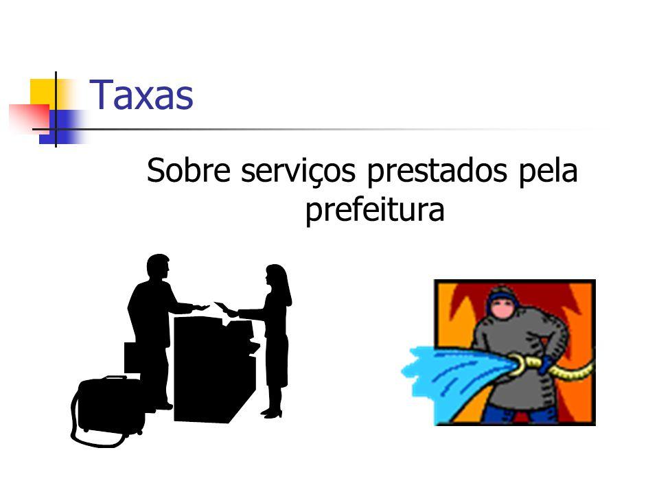 Taxas Sobre serviços prestados pela prefeitura