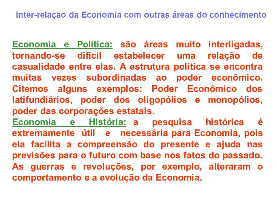Inter-relação da Economia com outras áreas do conhecimento Economia e Política: são áreas muito interligadas, tornando-se difícil estabelecer uma rela