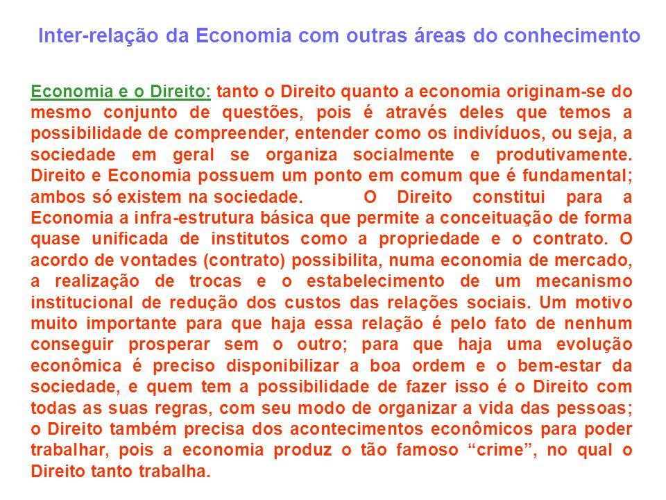Inter-relação da Economia com outras áreas do conhecimento Economia e o Direito: tanto o Direito quanto a economia originam-se do mesmo conjunto de qu