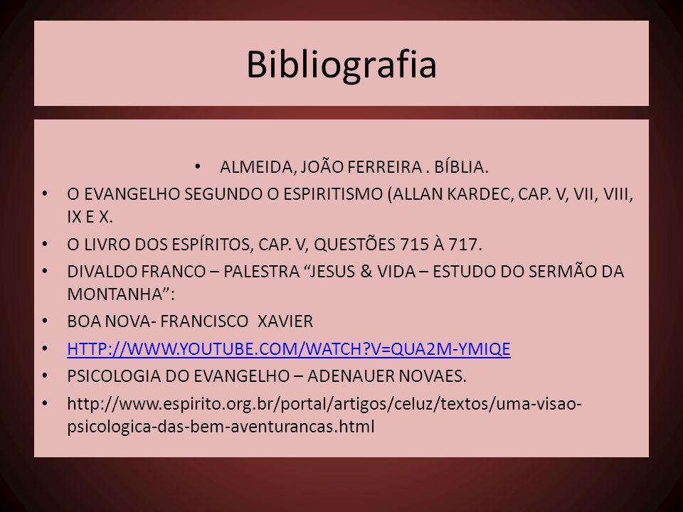 Bibliografia • ALMEIDA, JOÃO FERREIRA. BÍBLIA. • O EVANGELHO SEGUNDO O ESPIRITISMO (ALLAN KARDEC, CAP. V, VII, VIII, IX E X. • O LIVRO DOS ESPÍRITOS,