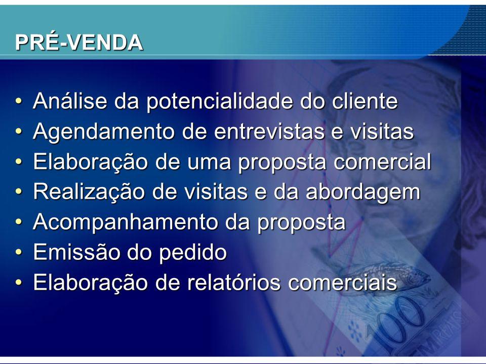 PRÉ-VENDA •Análise da potencialidade do cliente •Agendamento de entrevistas e visitas •Elaboração de uma proposta comercial •Realização de visitas e d