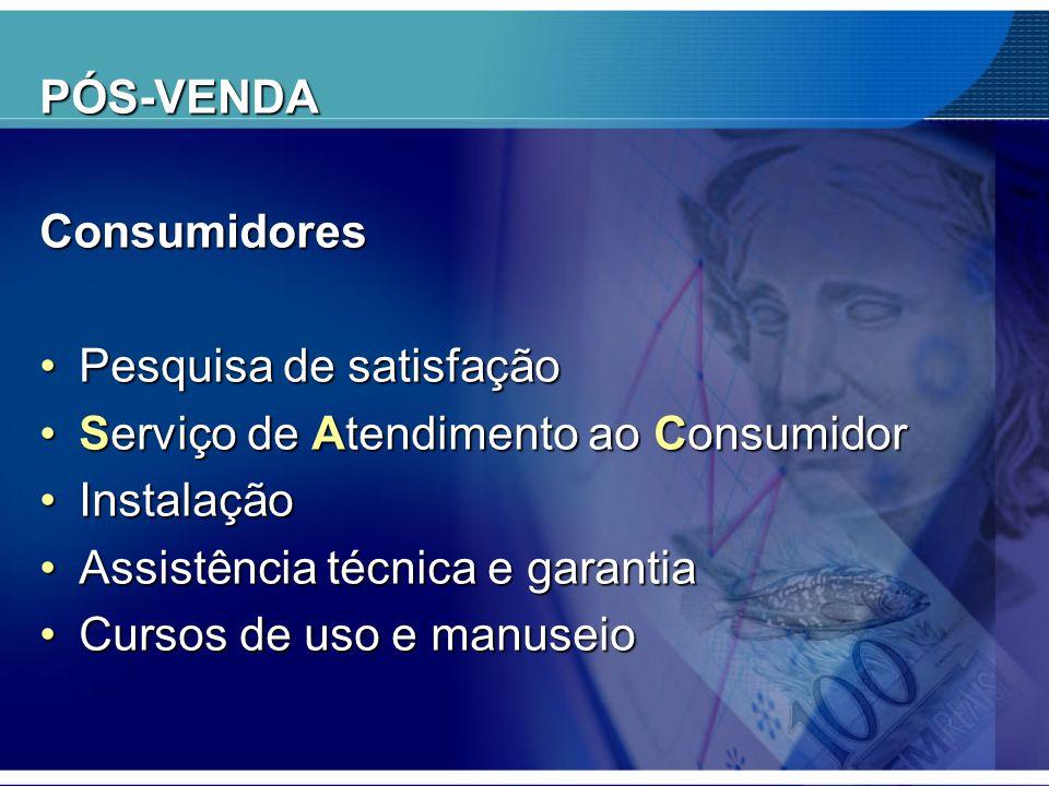 PÓS-VENDAConsumidores •Pesquisa de satisfação •Serviço de Atendimento ao Consumidor •Instalação •Assistência técnica e garantia •Cursos de uso e manus