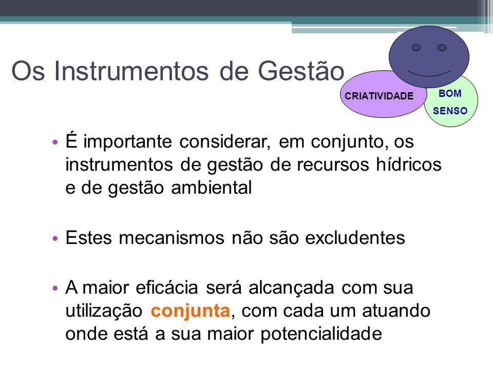 Os Instrumentos de Gestão • É importante considerar, em conjunto, os instrumentos de gestão de recursos hídricos e de gestão ambiental • Estes mecanis
