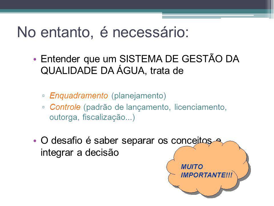 No entanto, é necessário: • Entender que um SISTEMA DE GESTÃO DA QUALIDADE DA ÁGUA, trata de ▫ Enquadramento (planejamento) ▫ Controle (padrão de lanç