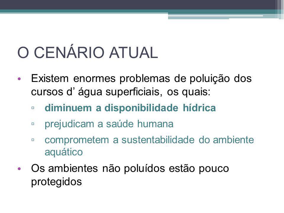 O CENÁRIO ATUAL • Existem enormes problemas de poluição dos cursos d' água superficiais, os quais: ▫ diminuem a disponibilidade hídrica ▫ prejudicam a