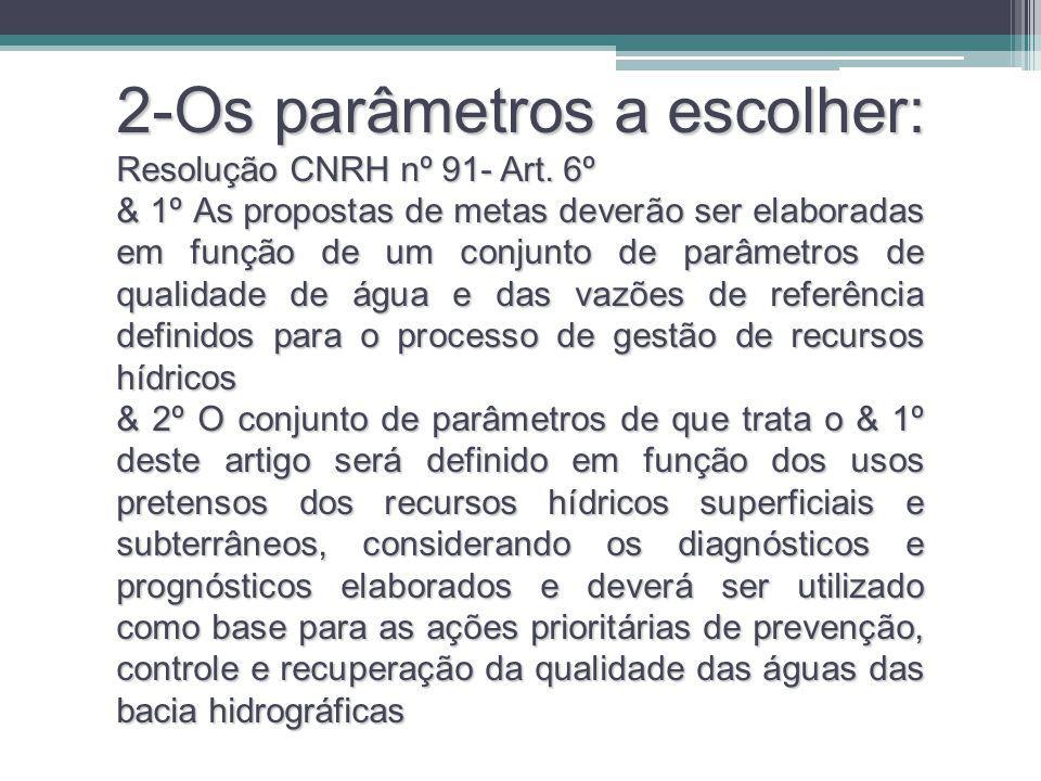 2-Os parâmetros a escolher: Resolução CNRH nº 91- Art. 6º & 1º As propostas de metas deverão ser elaboradas em função de um conjunto de parâmetros de
