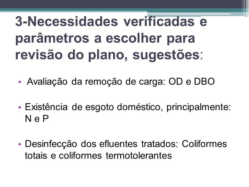 3-Necessidades verificadas e parâmetros a escolher para revisão do plano, sugestões: • Avaliação da remoção de carga: OD e DBO • Existência de esgoto