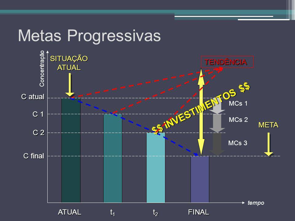Metas Progressivas META TENDÊNCIA MCs 1 MCs 2 MCs 3 tempo Concentração C atual C 1 C 2 C final ATUAL t1t1t1t1FINAL t2t2t2t2 $$ INVESTIMENTOS $$ SITUAÇ
