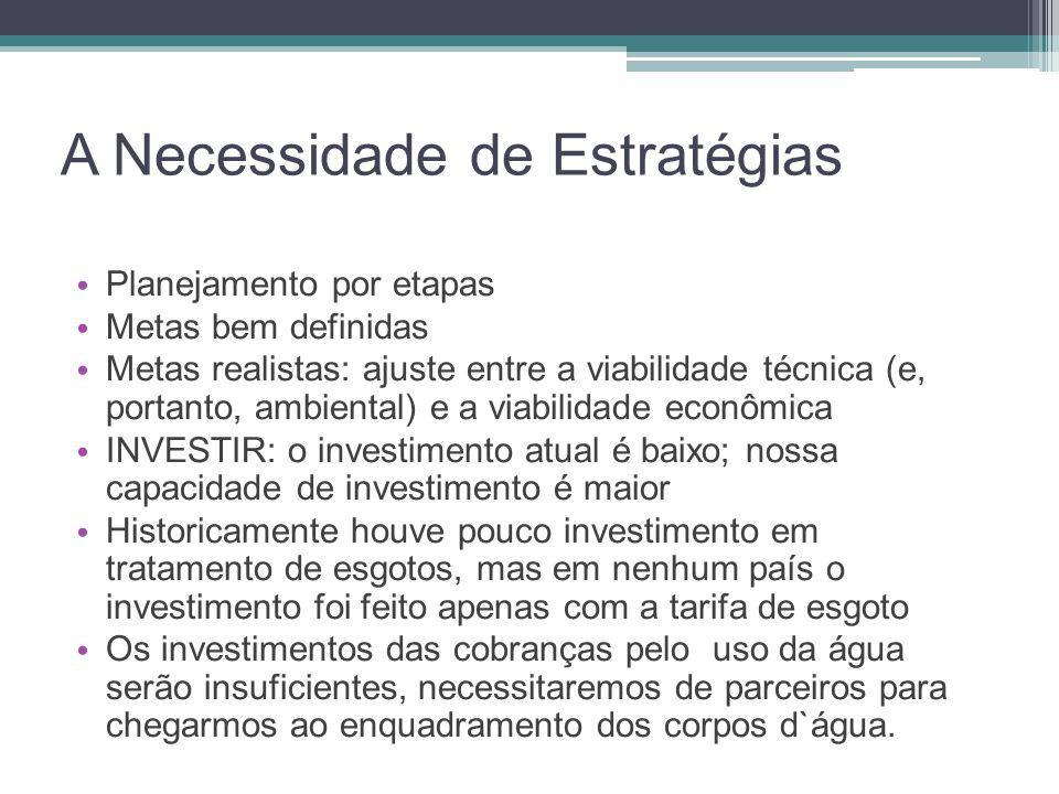 A Necessidade de Estratégias • Planejamento por etapas • Metas bem definidas • Metas realistas: ajuste entre a viabilidade técnica (e, portanto, ambie