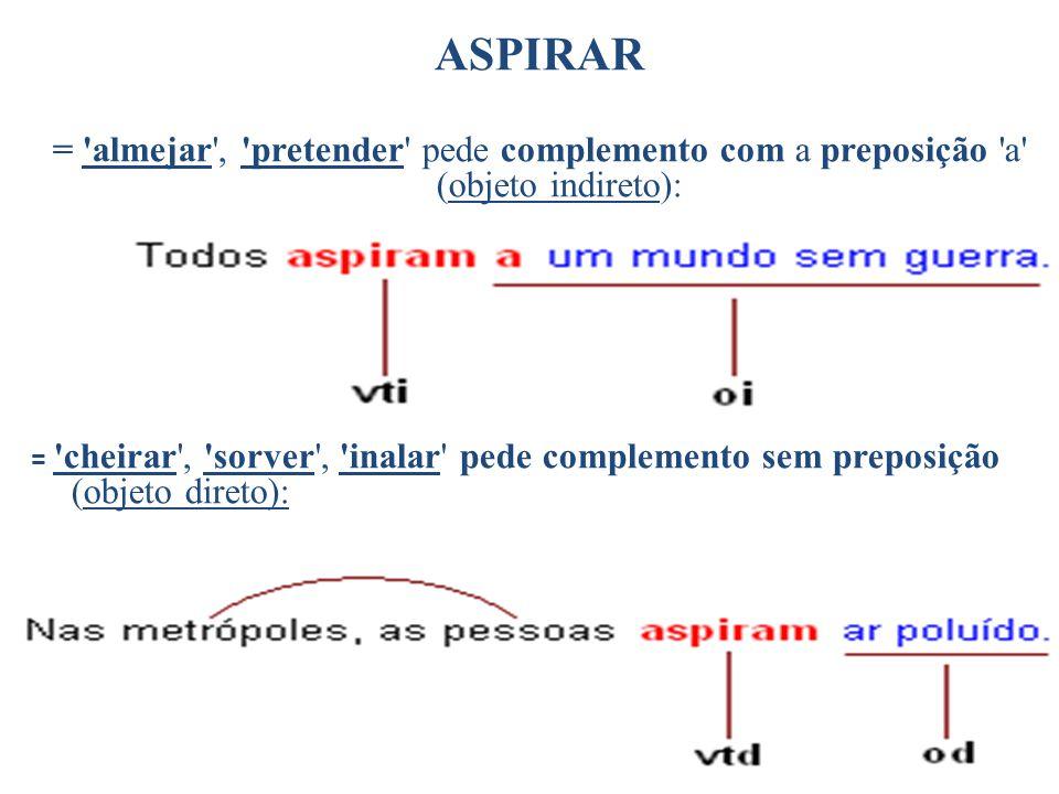 ASPIRAR = 'almejar', 'pretender' pede complemento com a preposição 'a' (objeto indireto): = 'cheirar', 'sorver', 'inalar' pede complemento sem preposi
