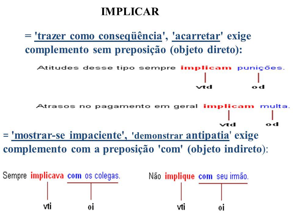IMPLICAR = 'trazer como conseqüência', 'acarretar' exige complemento sem preposição (objeto direto): = 'mostrar-se impaciente', 'demonstrar antipatia'