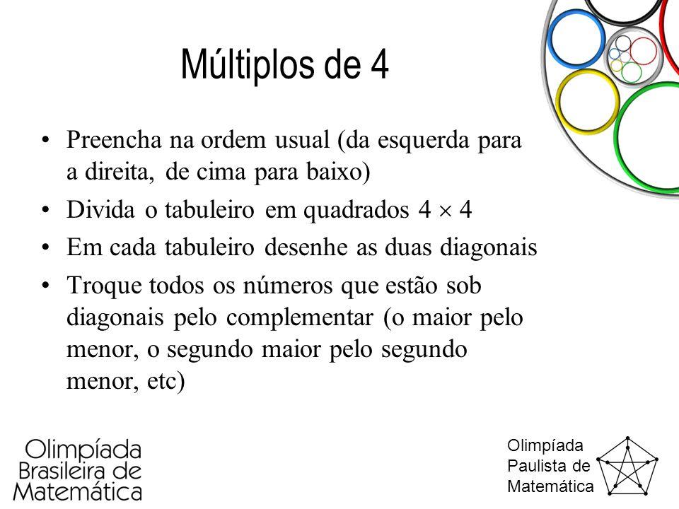 Olimpíada Paulista de Matemática Múltiplos de 4 •Preencha na ordem usual (da esquerda para a direita, de cima para baixo) •Divida o tabuleiro em quadr