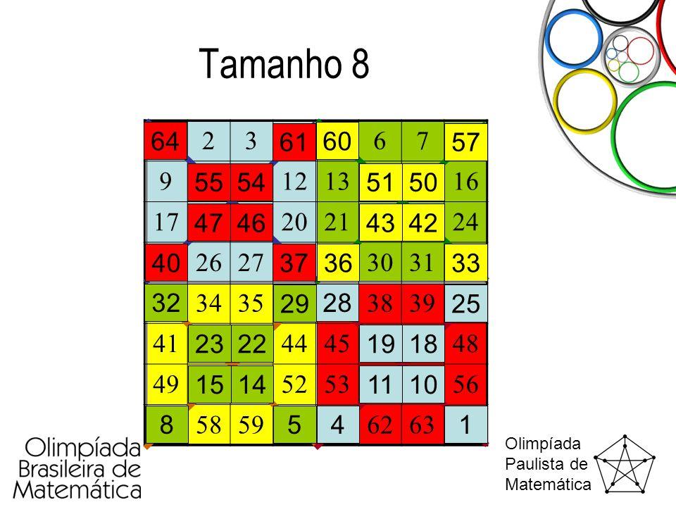 Olimpíada Paulista de Matemática Tamanho 8 12345678 910111213141516 1718192021222324 2526272829303132 3334353637383940 4142434445464748 49505152535455