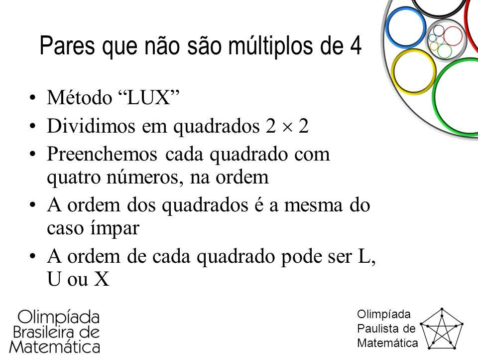 """Olimpíada Paulista de Matemática Pares que não são múltiplos de 4 •Método """"LUX"""" •Dividimos em quadrados 2  2 •Preenchemos cada quadrado com quatro nú"""