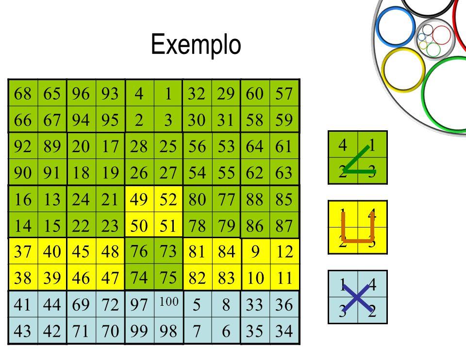 Olimpíada Paulista de Matemática Exemplo 41 23 14 23 14 32 41 23 58 76 912 1011 1613 1415 2017 1819 2421 2223 2825 2627 3229 3031 3336 3534 3740 3839