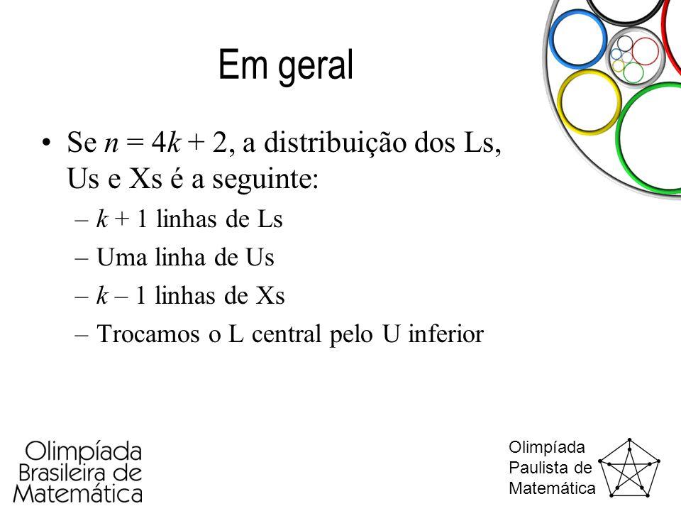Olimpíada Paulista de Matemática Em geral •Se n = 4k + 2, a distribuição dos Ls, Us e Xs é a seguinte: –k + 1 linhas de Ls –Uma linha de Us –k – 1 lin