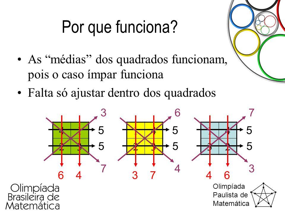 """Olimpíada Paulista de Matemática Por que funciona? •As """"médias"""" dos quadrados funcionam, pois o caso ímpar funciona •Falta só ajustar dentro dos quadr"""