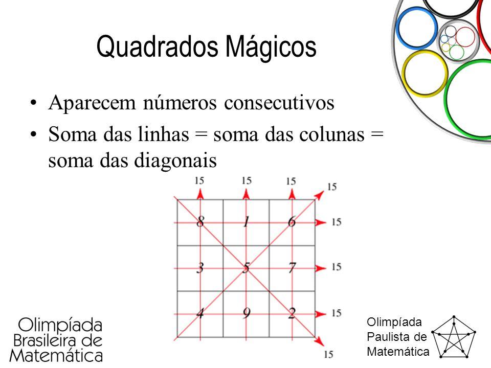 Olimpíada Paulista de Matemática Quadrados Mágicos •Aparecem números consecutivos •Soma das linhas = soma das colunas = soma das diagonais