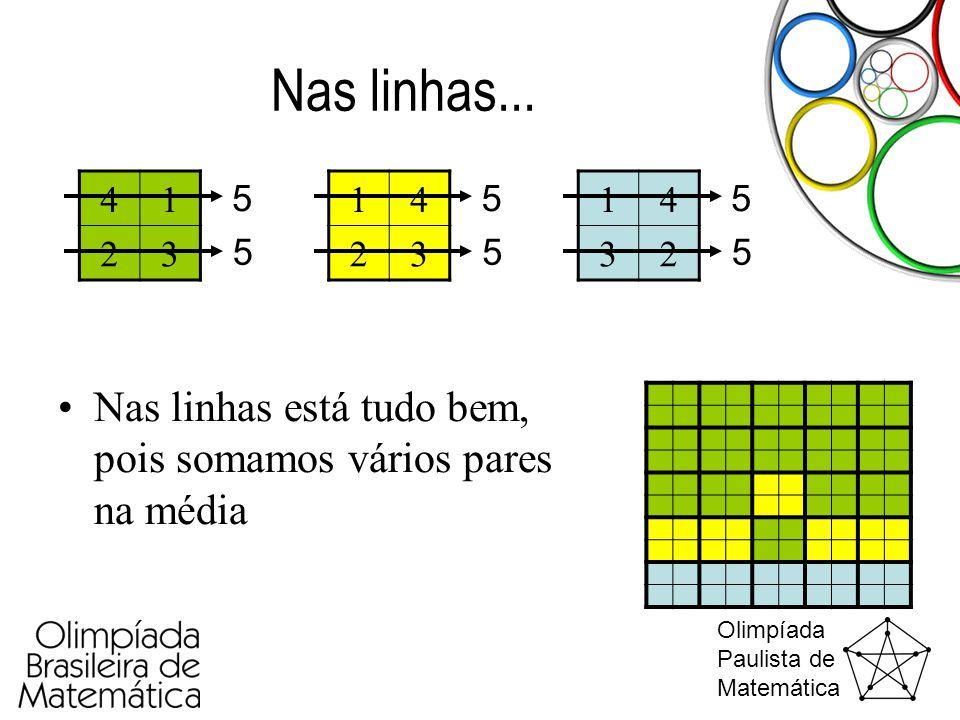 Olimpíada Paulista de Matemática Nas linhas... •Nas linhas está tudo bem, pois somamos vários pares na média 41 23 14 23 14 32 5 5 5 5 5 5