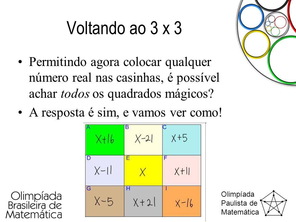 Olimpíada Paulista de Matemática Voltando ao 3 x 3 •Permitindo agora colocar qualquer número real nas casinhas, é possível achar todos os quadrados má