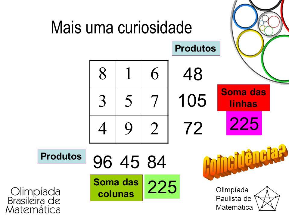 Olimpíada Paulista de Matemática Mais uma curiosidade 816 357 492 Produtos 48 105 72 844596 Soma das linhas 225 Soma das colunas 225