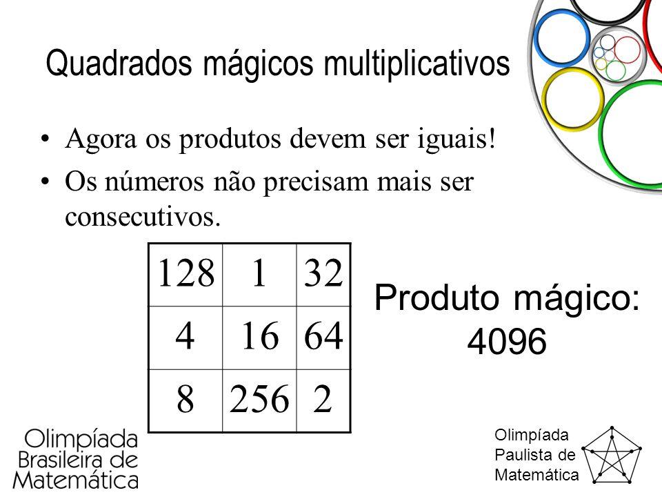Olimpíada Paulista de Matemática Quadrados mágicos multiplicativos •Agora os produtos devem ser iguais! •Os números não precisam mais ser consecutivos