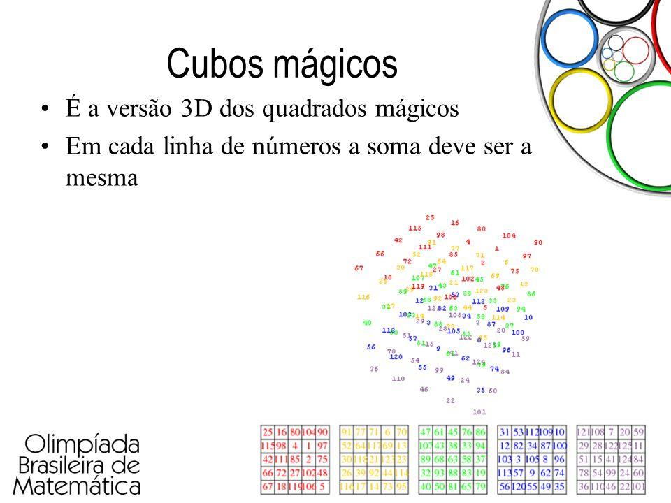Olimpíada Paulista de Matemática Cubos mágicos •É a versão 3D dos quadrados mágicos •Em cada linha de números a soma deve ser a mesma
