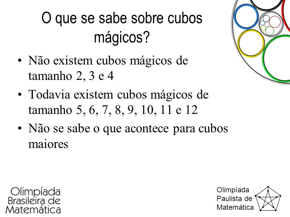 Olimpíada Paulista de Matemática O que se sabe sobre cubos mágicos? •Não existem cubos mágicos de tamanho 2, 3 e 4 •Todavia existem cubos mágicos de t