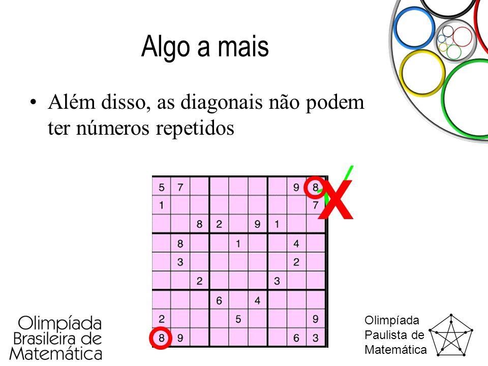 Olimpíada Paulista de Matemática Algo a mais •Além disso, as diagonais não podem ter números repetidos 1324 2413 4231 3142  X