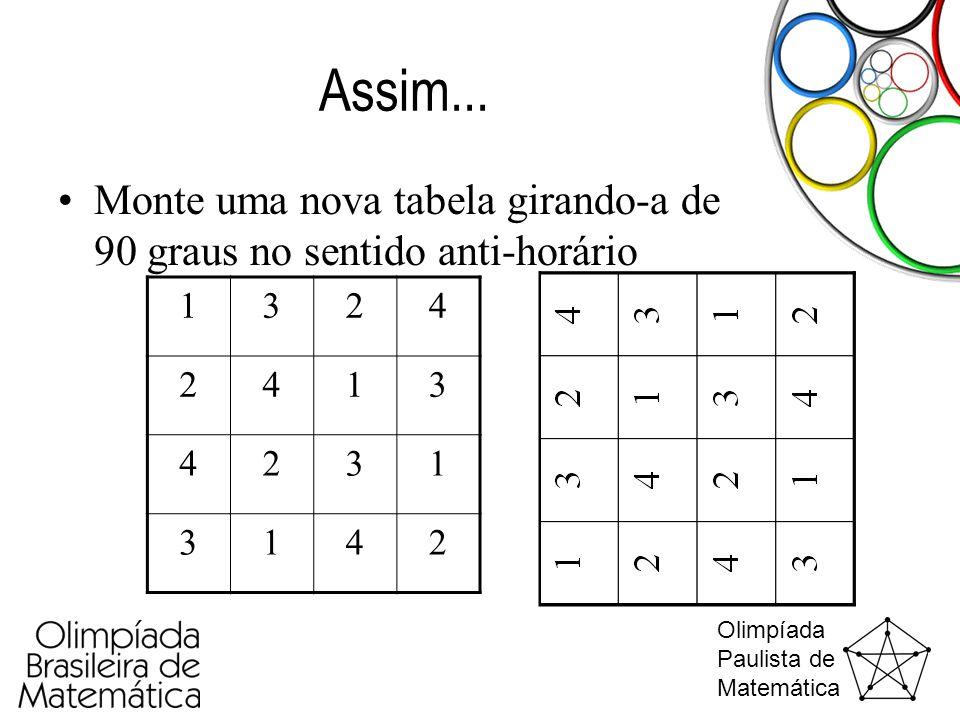 Olimpíada Paulista de Matemática Assim... •Monte uma nova tabela girando-a de 90 graus no sentido anti-horário 1324 2413 4231 3142