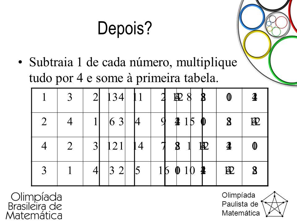 Olimpíada Paulista de Matemática Depois? •Subtraia 1 de cada número, multiplique tudo por 4 e some à primeira tabela. 1324 2413 4231 3142 4312 2134 34