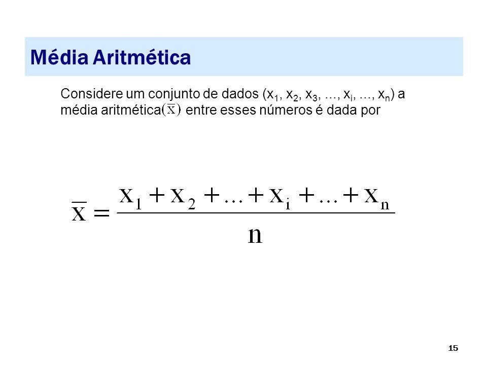 15 Média Aritmética Considere um conjunto de dados (x 1, x 2, x 3,..., x i,..., x n ) a média aritmética entre esses números é dada por