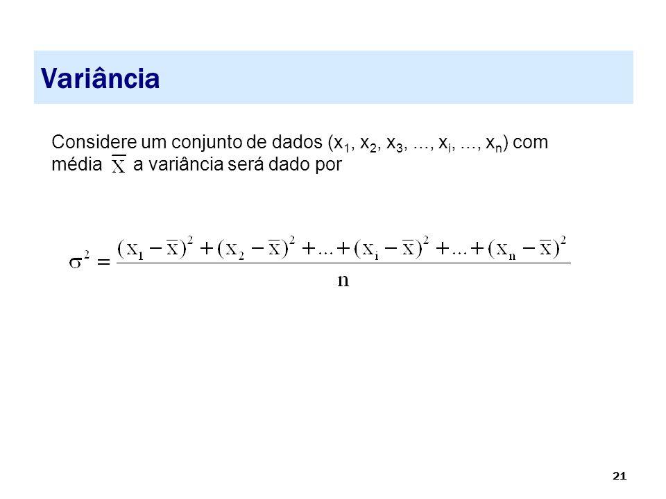 21 Variância Considere um conjunto de dados (x 1, x 2, x 3,..., x i,..., x n ) com média a variância será dado por