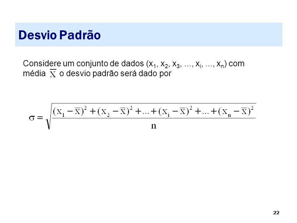 22 Desvio Padrão Considere um conjunto de dados (x 1, x 2, x 3,..., x i,..., x n ) com média o desvio padrão será dado por