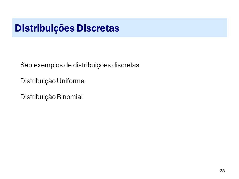 23 Distribuições Discretas São exemplos de distribuições discretas Distribuição Uniforme Distribuição Binomial