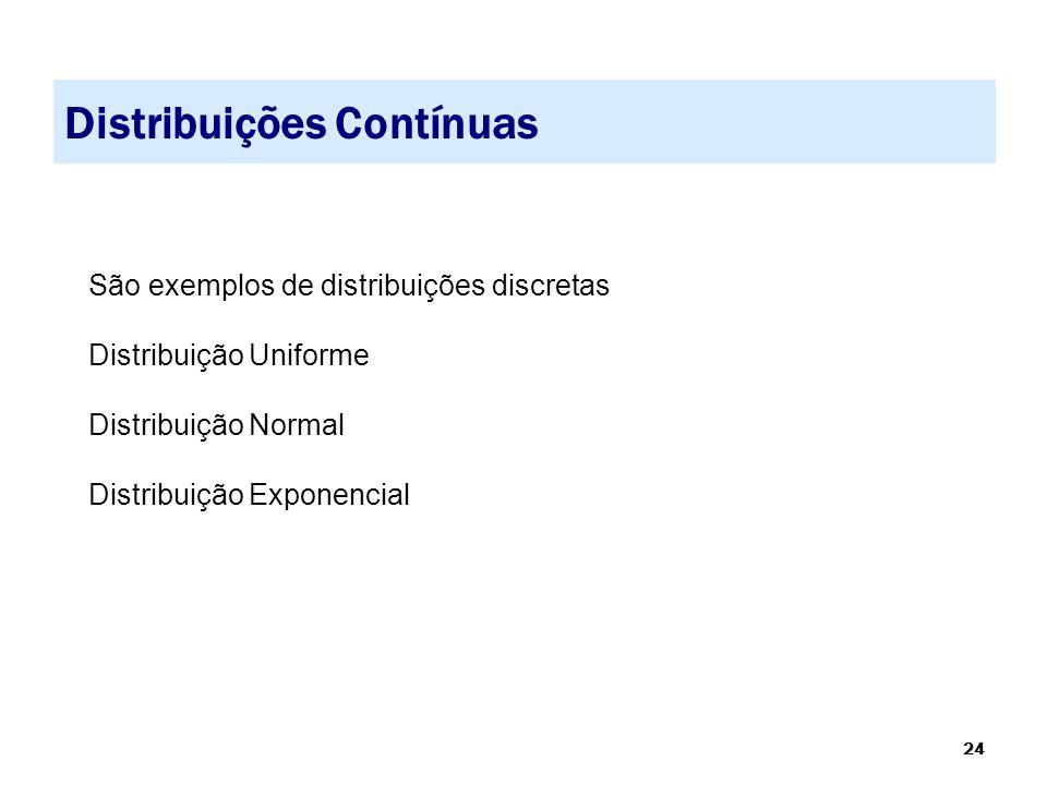 24 Distribuições Contínuas São exemplos de distribuições discretas Distribuição Uniforme Distribuição Normal Distribuição Exponencial